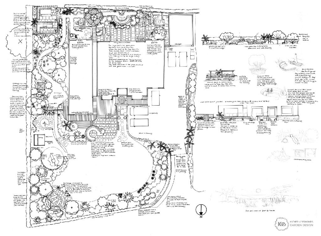 Hand Drawn Garden Design Plan